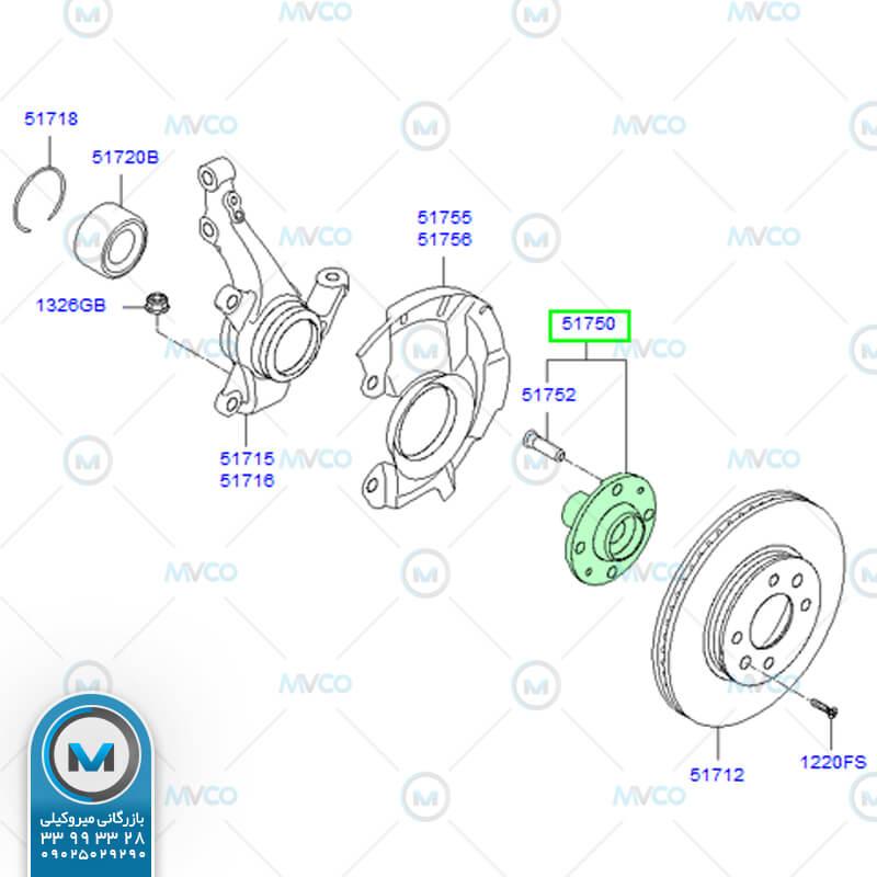 توپی چرخ جلو اکسنت ۲۰۱۱ OEM